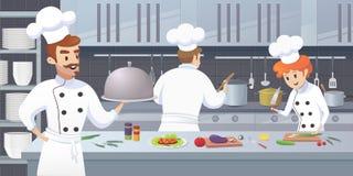 Cuisine commerciale avec le chef de personnages de dessin animé illustration de vecteur