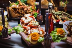 Cuisine Culinary Buffet Dinner Catering Dining Food Celebration Party Concept. stock photos