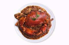 Cuisine de l'Asie de crabe de piments d'isolement avec le chemin de coupure sur b blanc Photographie stock libre de droits
