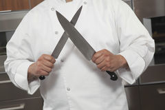 Cuisine de message publicitaire de Sharpening Knives In de chef Photos libres de droits