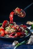 Cuisine de Sichuan d'écrevisses d'écrevisses d'ail photographie stock libre de droits