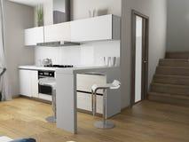 Cuisine domestique moderne, conception intérieure élégante, image de rendu de 3 d illustration stock