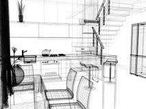 Cuisine domestique moderne, conception intérieure élégante, image de rendu de 3 d illustration de vecteur