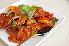 Cuisine douce et aigre végétarienne chinoise de porc image libre de droits