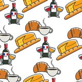 Cuisine and drinks French cheese and baguette wine coffee and croissant. French cheese and baguette wine coffee and croissant seamless pattern vector France stock illustration