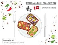 Cuisine du Danemark Collection nationale européenne de plat Le danois ouvert illustration stock