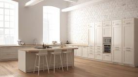 Cuisine en bois industrielle moderne avec les détails en bois et la fenêtre panoramique, conception intérieure minimalistic blanc illustration libre de droits