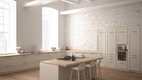Cuisine en bois industrielle moderne avec les détails en bois et la fenêtre panoramique, conception intérieure minimalistic blanc illustration de vecteur