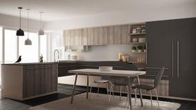 Cuisine en bois minimalistic moderne avec la table de salle à manger, le tapis et la conception intérieure panoramique d'architec illustration de vecteur