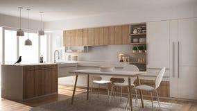 Cuisine en bois minimalistic moderne avec la table de salle à manger, le tapis et la fenêtre panoramique, intérieur blanc d'archi illustration stock