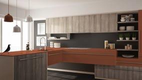 Cuisine en bois minimalistic moderne avec le plancher de parquet, le tapis et l'intérieur de fenêtre, gris et rouge panoramique d illustration libre de droits
