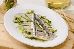 Cuisine espagnole. Anchois frais marinés. Boquerones. Photographie stock