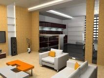 Cuisine et salle de séjour Photo stock