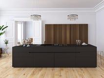 Cuisine et salon en appartement de grenier rendu 3d Photographie stock