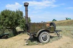 Cuisine extérieure Chariot avec la cuisine de champ pour les soldats Photographie stock