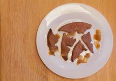 Cuisine familiale de foie de porc Images libres de droits