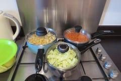 Cuisine familiale sur un aliment d'ébullition de fraise-mère de gaz dans la grande casserole images stock