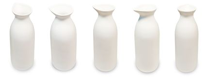 Set of Japanese Sake Bottles on White Background royalty free stock photo