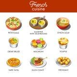 Cuisine française délicieuse avec la plupart des plats exquis célèbres illustration de vecteur