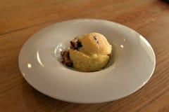 Cuisine gastronome, polenta et champignon de montagne Photo libre de droits