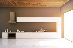 Cuisine grise avec la fenêtre panoramique, modifiée la tonalité illustration libre de droits
