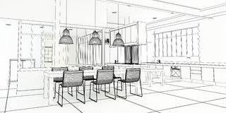 Cuisine impressionnante de plan d'architecte Image libre de droits