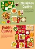 Cuisine indienne et malaisienne nationale illustration libre de droits