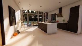Cuisine intérieure moderne et salle à manger illustration de vecteur