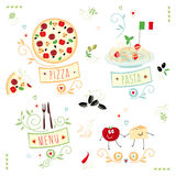 Cuisine italienne, ensemble d'illustration Photo stock
