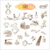 Cuisine italienne tirée par la main Conception de menu de nourriture Images libres de droits