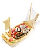Cuisine japonaise - bateau de sushi Images libres de droits