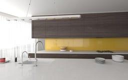 Cuisine avec la fen tre panoramique photos 14 cuisine - Cuisine grise et jaune ...