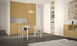 Cuisine lumineuse moderne minimaliste avec la table de salle à manger et les chaises, la grande conception intérieure d'architect illustration stock