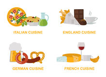 Cuisine lunch gourmet traditional food flat vector illustration set. Royalty Free Stock Photography