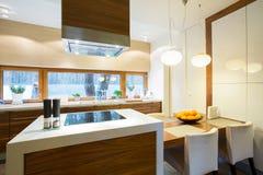 Cuisine meublée et confortable image stock
