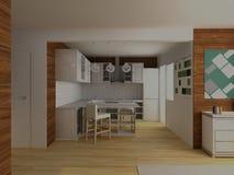 Cuisine moderne blanche avec le plancher en bois dur et le revêtement Image stock
