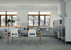 Cuisine moderne blanche dans une maison avec une belle conception Image libre de droits