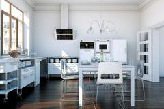 Cuisine moderne blanche dans une maison avec une belle conception Photos libres de droits