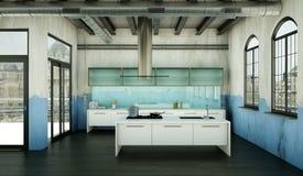 Cuisine moderne blanche dans une maison avec une belle conception Photographie stock