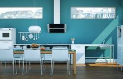 Cuisine moderne blanche dans une maison avec les murs bleus Photo libre de droits