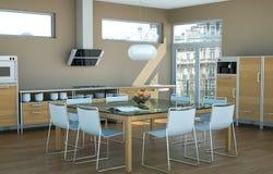 Cuisine moderne blanche dans une maison avec les murs bruns Photos libres de droits