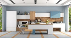 Cuisine moderne blanche et bleue illustration stock
