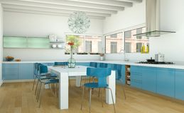Cuisine moderne bleue dans une maison avec une belle conception Image libre de droits