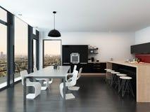 Cuisine moderne d'ouvert-plan et salle à manger illustration stock