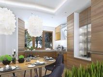 Cuisine moderne dans le style contemporain de salle à manger Image libre de droits