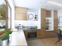 Cuisine moderne dans le style contemporain de salle à manger Images libres de droits