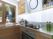 Cuisine moderne dans le style contemporain de salle à manger Photo libre de droits