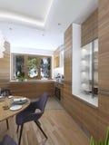Cuisine moderne dans le style contemporain de salle à manger Photos stock