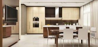 Cuisine moderne dans une grande belle maison photographie stock libre de droits