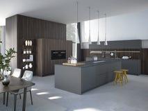 Cuisine moderne dans une maison ou un appartement rendu 3d Images stock